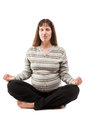 Beauty pregnant woman meditating in yoga exercise healthy lifestyle and pregnancy Royalty Free Stock Images
