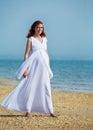 Beauty pregnant woman on sea beach Royalty Free Stock Photo