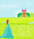 The beauty princess find the way to her castle funny maze game Royalty Free Stock Photography