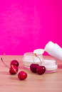 Beauty product with natural ingredients (cherries) Stock Photos
