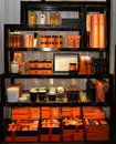 Store Shelves with Beauty Products for Her, Orange Cosmetic Treatments and Aromatic Candles