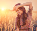 Beauty Romantic Girl Outdoors Royalty Free Stock Photo