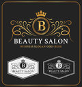 Beauty salon heraldic crest logo template design flourish line monogram logotype vector illustration Royalty Free Stock Photo
