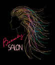 Beauty salon logo concept with woman's abstract sparkle head Royalty Free Stock Photo
