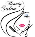Beauty salon pretty woman hair face logo Royalty Free Stock Photo