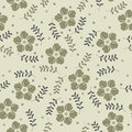 Beauty seamless pattern with decorative spring flowers and plant