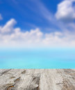 Beauty seascape under blue clouds sky. Stock Photo