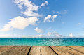 Beauty seascape under blue clouds sky view from pier Stock Photos
