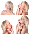 Beauty set with young lady with blond hair beautiful portrait over white Royalty Free Stock Photography