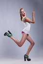 Beauty sexy active girl moving - jamp. Freedom Royalty Free Stock Photography
