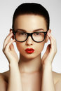 Beauty sexy fashion model girl wearing glasses Royalty Free Stock Photo