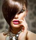 Beauty sexy model girl fringe with perfect makeup and manicure Stock Photo