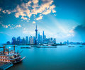 The beauty of shanghai at dusk beautiful pudong skyline with huangpu river and pleasure boat china Royalty Free Stock Image
