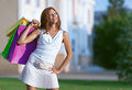 Beauty shopping woman with papper bag Stock Photo