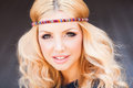 Beauty shot of beautiful hippie blonde woman smiling outdoor Royalty Free Stock Photography