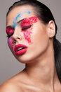 Beauty shot of faceart visage Royalty Free Stock Photo
