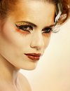Beauty shot woman in autumn makeup Royalty Free Stock Photography