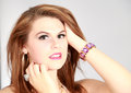 Beauty shot of young woman fashion beautiful wearing bracelet Royalty Free Stock Photography