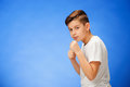 Beauty smiling sport child boy boxing Royalty Free Stock Photo