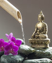 Beauty with spirituality and luxury of time zen buddha next to symbol Stock Images