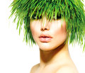 Beauty spring woman fresh green grass hair summer nature Stock Image