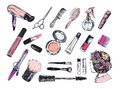 Beauty store collection with make up artist and hairdressing objects: lipstick, cream, brush. Template Vector. Hand drawn