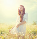 Beauty summer girl outdoor outdoors enjoying nature Royalty Free Stock Photos
