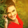 Beauty sunshine girl portrait happy woman smiling Royalty Free Stock Image