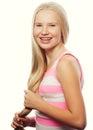 Beauty teen girl. Beautiful model face. Royalty Free Stock Photo