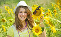 Beauty teen girl and sunflowers Stock Photos