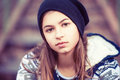 Beauty teenage girl in hat outdoors face of Royalty Free Stock Images