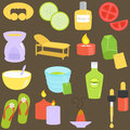 Beauty tools, Spa Icons, Relaxation, Massage Royalty Free Stock Images