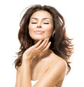 Beauty touching her skin woman beautiful young female Royalty Free Stock Image