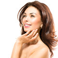 Beauty touching her skin woman beautiful young female Royalty Free Stock Photos