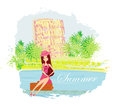 Beauty travel girl with baggage illustration Royalty Free Stock Images