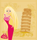 Beauty travel girl in italy illustration Stock Image