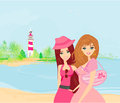 Beauty travel girls illustration Royalty Free Stock Image