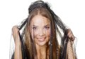 Beauty veiled girl beautifull portrait in a black veil Royalty Free Stock Photo