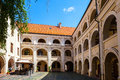 Beauty Vilnius` courtyard in renaissance style. Dormitory and boarding for young boys Royalty Free Stock Photo