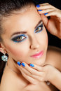 Beauty vogue style fashion model girl manicure and make up nail art beautiful woman with colorful nails and luxury makeup Royalty Free Stock Photography