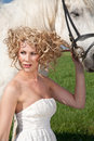 Beauty And White Horse Stock Photography