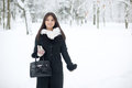 Beauty winter woman in park Royalty Free Stock Photography