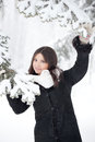 Beauty winter woman in park Royalty Free Stock Image
