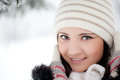 Beauty winter woman in park Royalty Free Stock Images