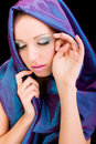 Beauty woman blue cloth face makeup studio shot Stock Photos