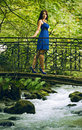 Beauty woman in blue dress Royalty Free Stock Images
