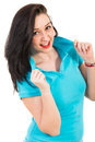 Beauty woman in blue t shirt posing isolated on white background Stock Photos