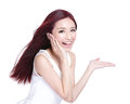 Beauty woman with charming smile to you health skin teeth and hair isolated on white background asian Stock Photo