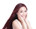 Beauty woman with charming smile to you health skin teeth and hair on white background asian Stock Image