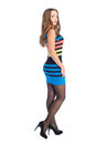 Beauty woman in colored stripe dress over white background Royalty Free Stock Photos